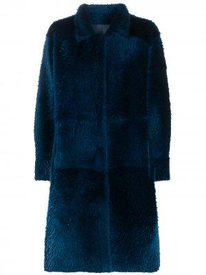 Однобортное пальто асимметричного кроя Liska. Цвет: синий
