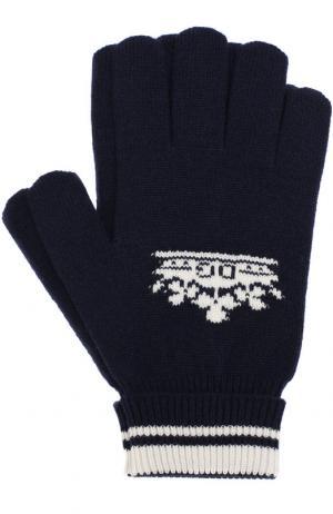 Кашемировые вязаные перчатки Dolce & Gabbana. Цвет: темно-синий
