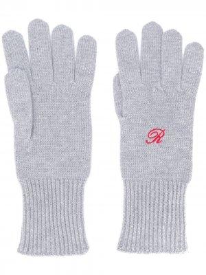 Перчатки с вышивкой Heroes Raf Simons. Цвет: серый