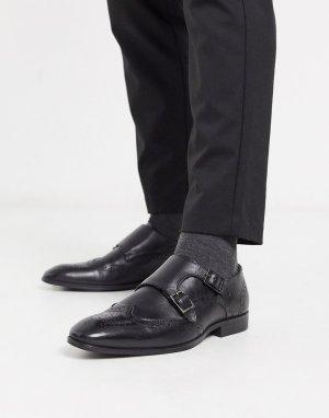 Черные кожаные монки-броги -Черный ASOS DESIGN