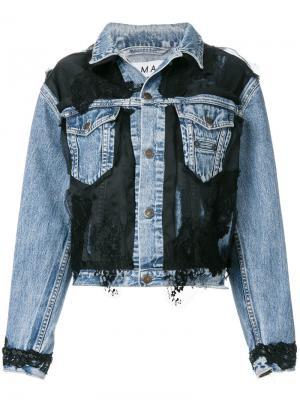 Джинсовая куртка с кружевной вставкой Almaz. Цвет: синий