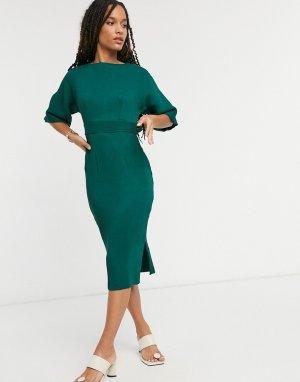 Платье-футляр изумрудно-зеленого цвета в рубчик с поясом -Зеленый Closet London