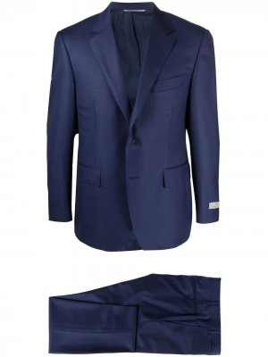 Строгий костюм узкого кроя Canali. Цвет: синий
