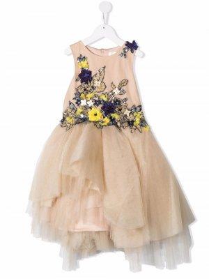 Floral-embellished sleeveless dress Mischka Aoki Kids. Цвет: нейтральные цвета