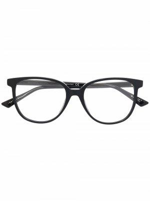 Прозрачные очки в квадратной оправе Bottega Veneta Eyewear. Цвет: черный