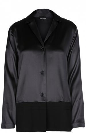 Шелковая блуза в пижамном стиле La Perla. Цвет: черный