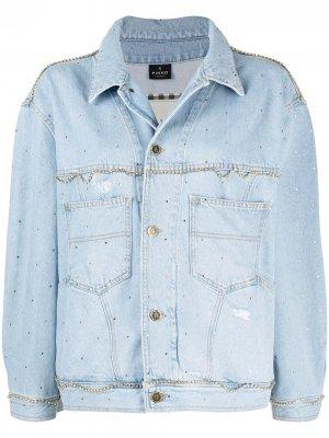 Джинсовая куртка с кристаллами Pinko. Цвет: синий