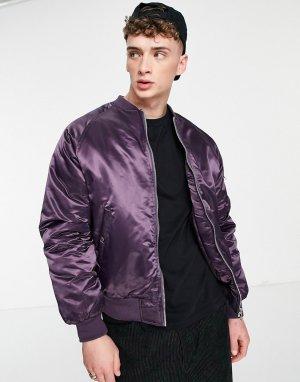 Утепленная куртка-бомбер блестящего фиолетового цвета в стиле oversized с карманом MA1 на рукаве -Фиолетовый цвет ASOS DESIGN