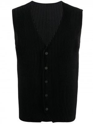 Плиссированный жилет на пуговицах Homme Plissé Issey Miyake. Цвет: черный