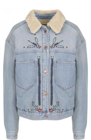 Джинсовая куртка с контрастной отделкой Isabel Marant Etoile. Цвет: голубой