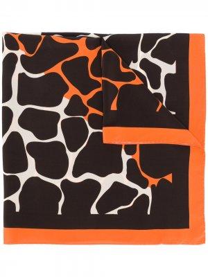 Шарф с анималистичным принтом Linda Farrow. Цвет: коричневый