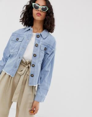 Светлая джинсовая куртка укороченного кроя -Синий River Island