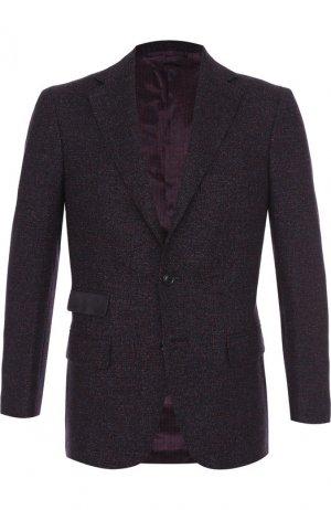 Однобортный пиджак из смеси шерсти и льна с шелком Andrea Campagna. Цвет: красный