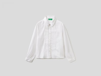 Рубашка со сборками Benetton. Цвет: белый
