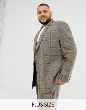 Oversize-пиджак в крупную клетку коричневого цвета COLLUSION Plus. Цвет: коричневый