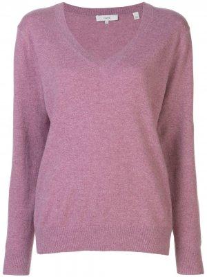 Кашемировый пуловер с V-бразным вырезом Vince. Цвет: розовый
