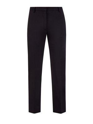 Строгие брюки из костюмной шерстяной ткани VALENTINO. Цвет: черный