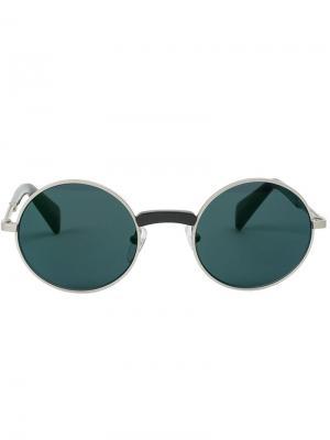 Солнцезащитные очки в круглой оправе Yohji Yamamoto. Цвет: серый