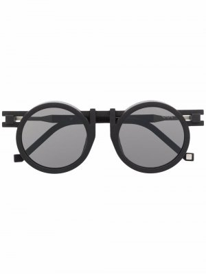 Солнцезащитные очки в круглой оправе из коллаборации с Kengo Kuma VAVA Eyewear. Цвет: черный