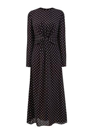 Шелковое платье-миди с длинными рукавами и контрастным принтом в горох VALENTINO. Цвет: черный