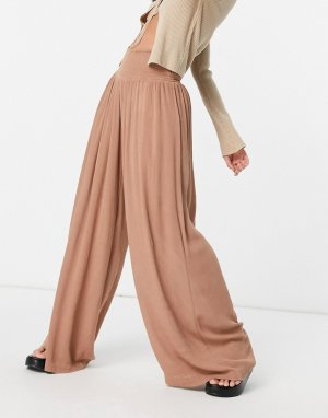 Светло-коричневые пляжные брюки -Коричневый цвет Vero Moda
