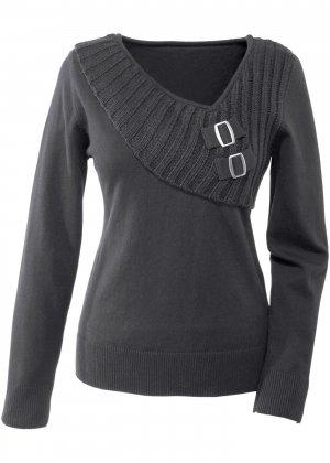 Пуловер с оригинальным дизайном bonprix. Цвет: черный