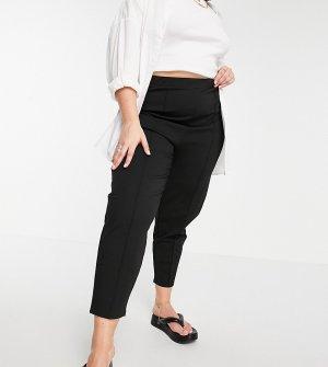 Черные брюки-галифе из понте с защипами ASOS DESIGN Curve-Черный цвет Curve