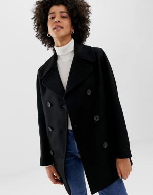 Двубортное пальто из ткани с добавлением шерсти Reefer-Черный Gloverall
