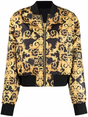 Двусторонний бомбер с принтом Baroque Versace Jeans Couture. Цвет: черный