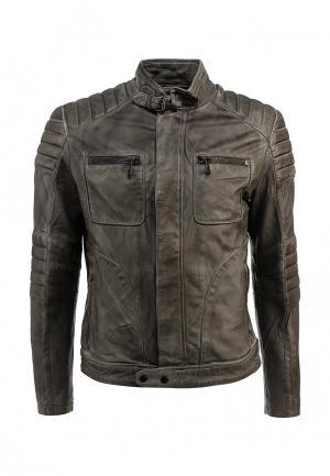 Куртка кожаная Colorado Jeans. Цвет: серый