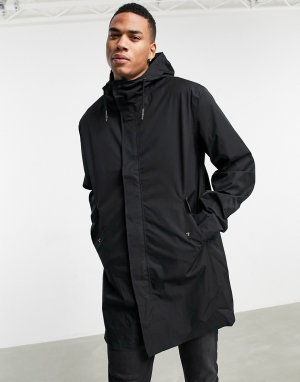 Черный непромокаемый дождевик удлиненного кроя -Черный цвет ASOS DESIGN