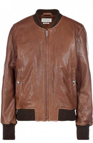Кожаный бомбер на молнии с карманами Isabel Marant Etoile. Цвет: коричневый