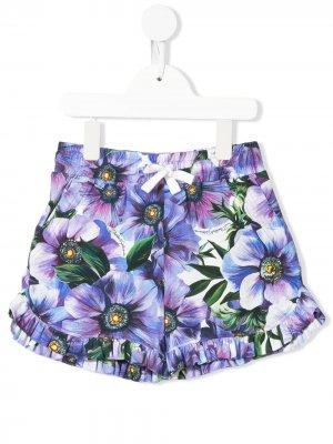 Шорты с цветочным принтом Dolce & Gabbana Kids. Цвет: фиолетовый
