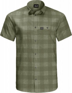 Рубашка с коротким рукавом мужская Jack Wolfskin Highlands, размер 54-56. Цвет: зеленый