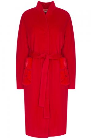 Шерстяное пальто с отделкой мехом норки Elema