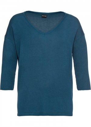 Пуловер bonprix. Цвет: сине-зеленый