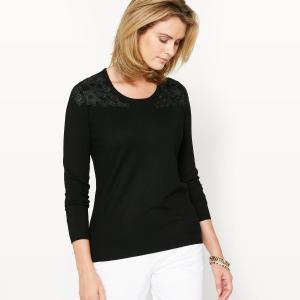 Пуловер с аппликациями из гипюра ANNE WEYBURN. Цвет: черный