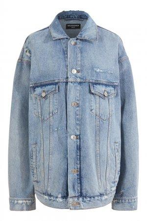 Голубая куртка из денима с вышивкой Balenciaga. Цвет: голубой