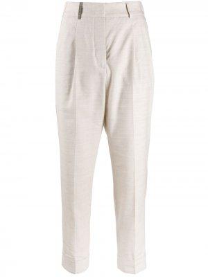 Укороченные брюки чинос кроя слим Peserico. Цвет: нейтральные цвета