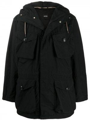 Куртка с карманами карго и капюшоном Aspesi. Цвет: черный