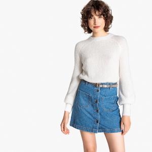 Пуловер с пышными рукавами из блестящего трикотажа LA REDOUTE COLLECTIONS. Цвет: белый