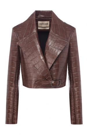 Укороченная кожаная куртка Roberto Cavalli. Цвет: коричневый