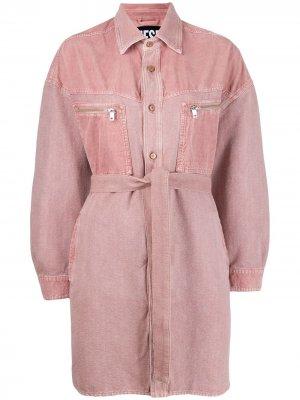Джинсовое платье с поясом Diesel. Цвет: розовый