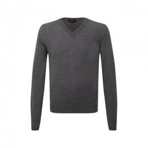 Шерстяной пуловер Brioni. Цвет: серый