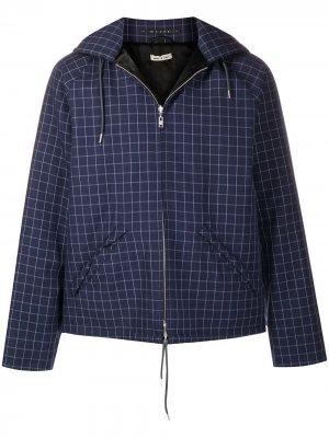 Checked hooded jacket Marni. Цвет: синий
