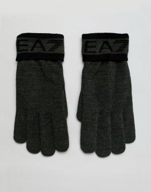Перчатки цвета хаки с логотипом EA7. Цвет: зеленый