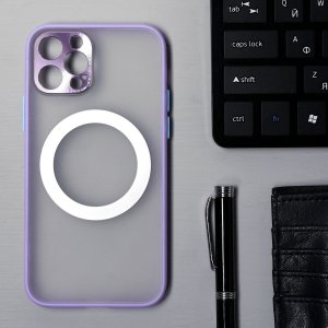 Чехол luazon для iphone 12 pro, поддержка mag-safe, с окантовкой, пластиковый, фиолетовый Home