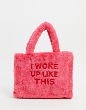 Небольшая сумка-тоут из розового искусственного меха -Розовый Skinnydip