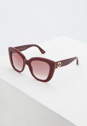Очки солнцезащитные Gucci GG0327S006. Цвет: бордовый
