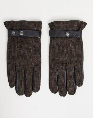 Коричневые кожаные перчатки для вождения с узором «в елочку» и отделкой на кончиках пальцев пользования гаджетами -Коричневый цвет ASOS DESIGN